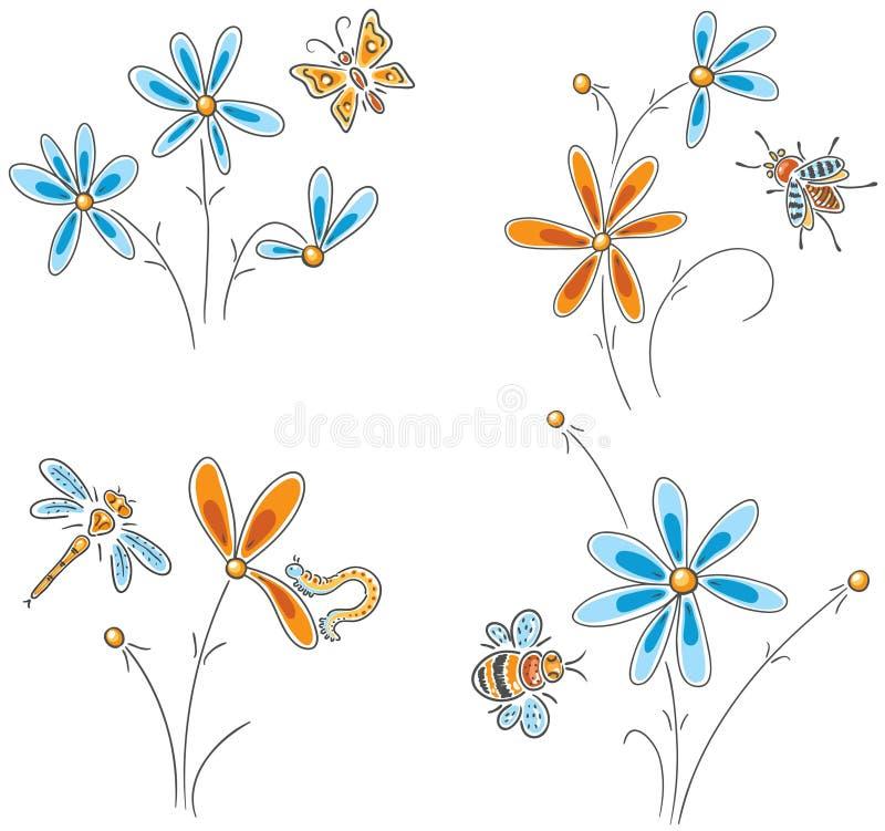 Flores tiradas mão com insetos ilustração do vetor