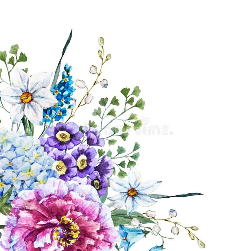 Flores tiradas mão da aquarela ilustração stock