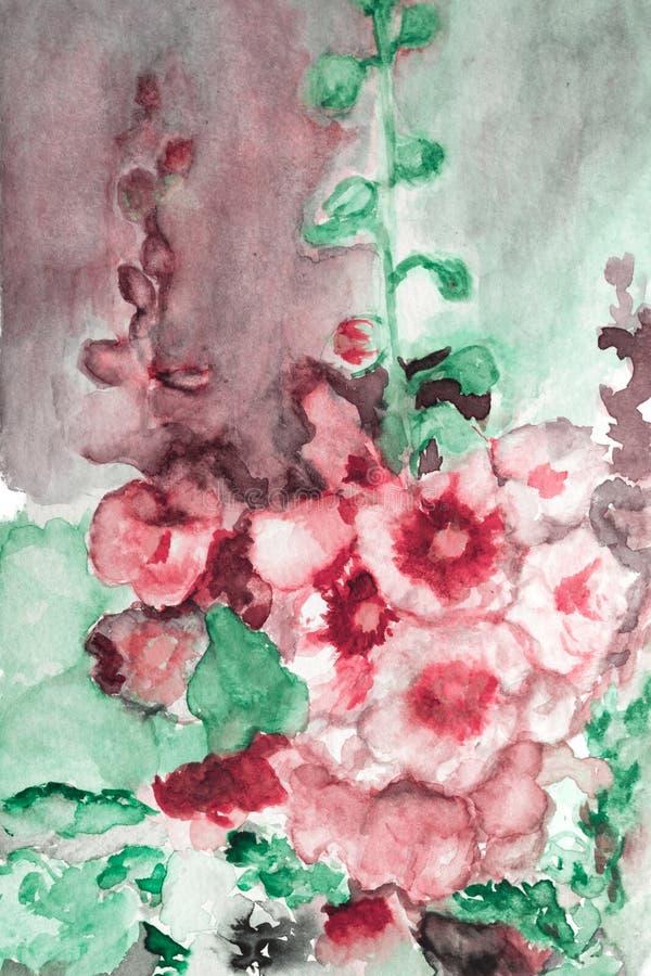 Flores tiradas mão da cor de água ilustração do vetor