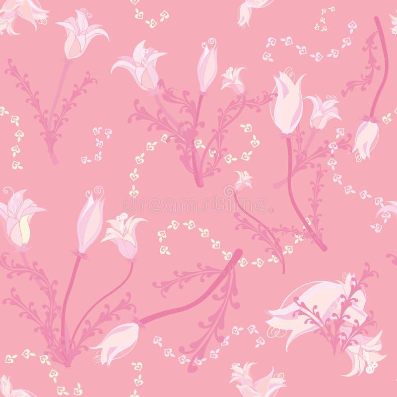 Flores todas no rosa macio ilustração stock