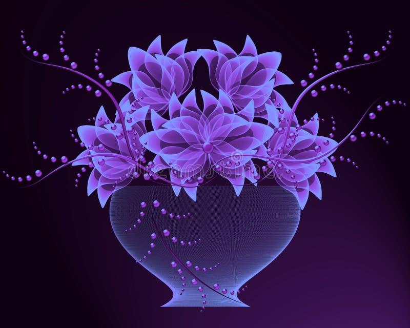 Flores transparentes en florero stock de ilustración