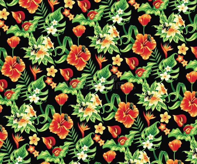 Flores tropicais ilustração royalty free