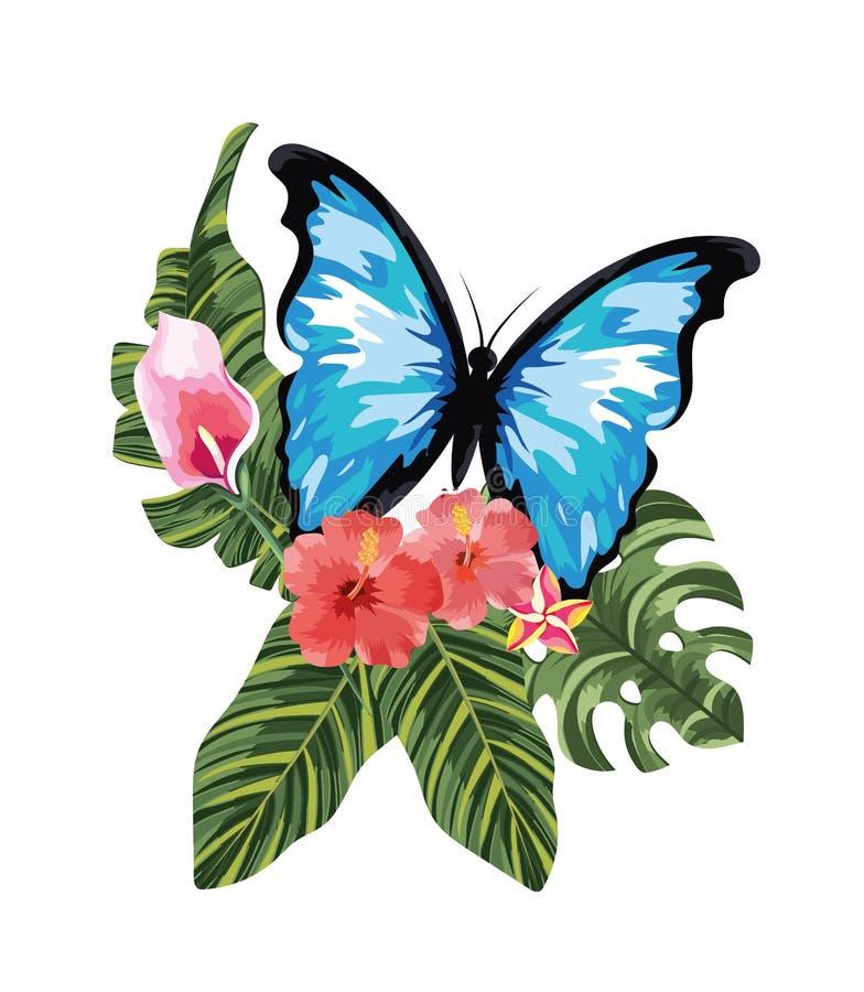 Flores tropicais com borboleta e as folhas exóticas ilustração do vetor