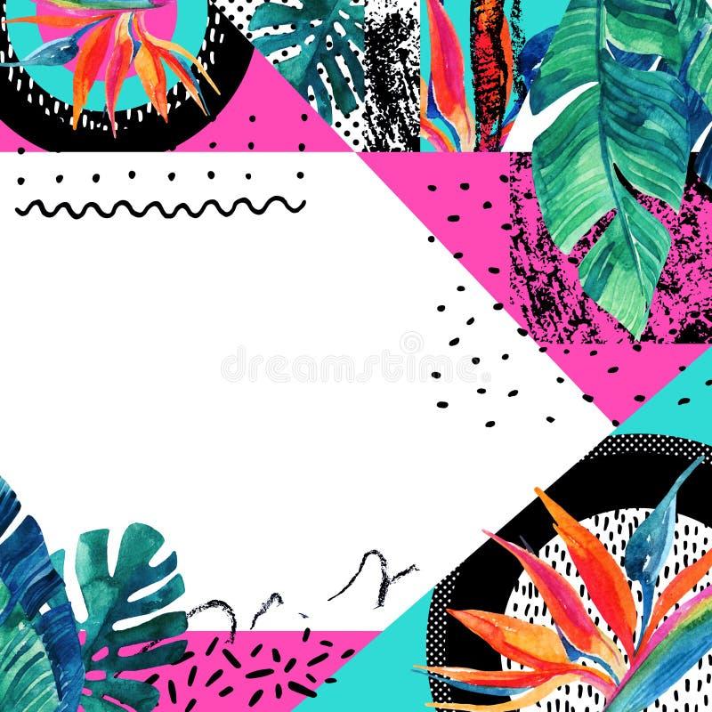 Flores tropicais da aquarela abstrata, fundo das folhas ilustração do vetor