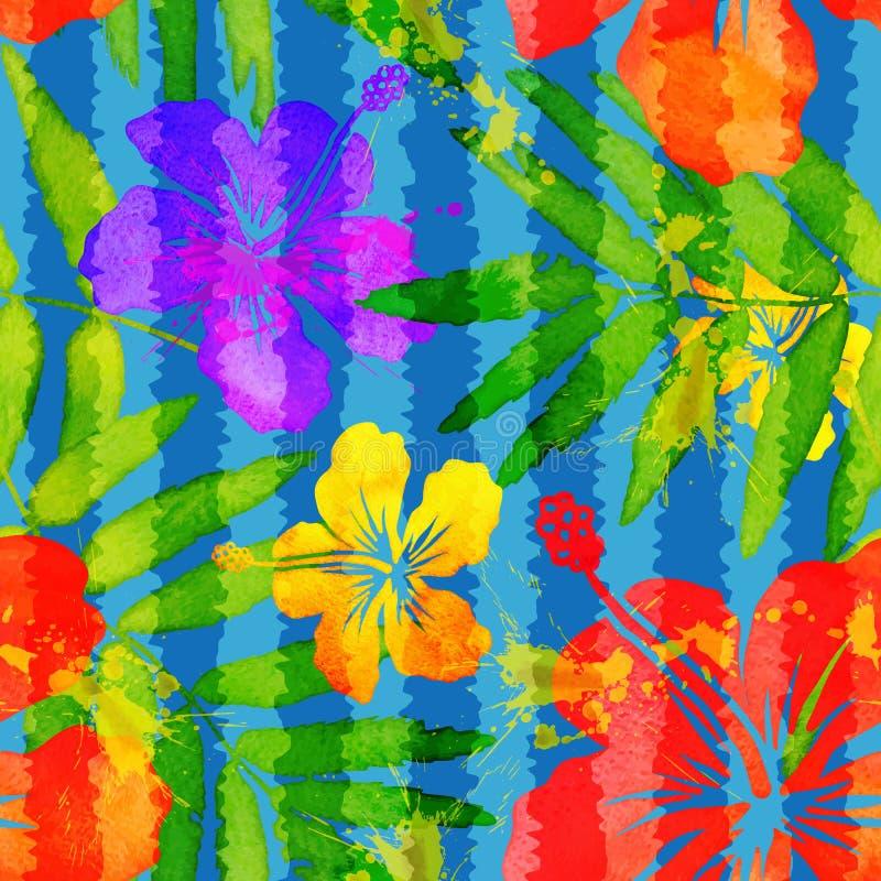 Flores tropicais da aquarela vívida brilhante das cores ilustração royalty free