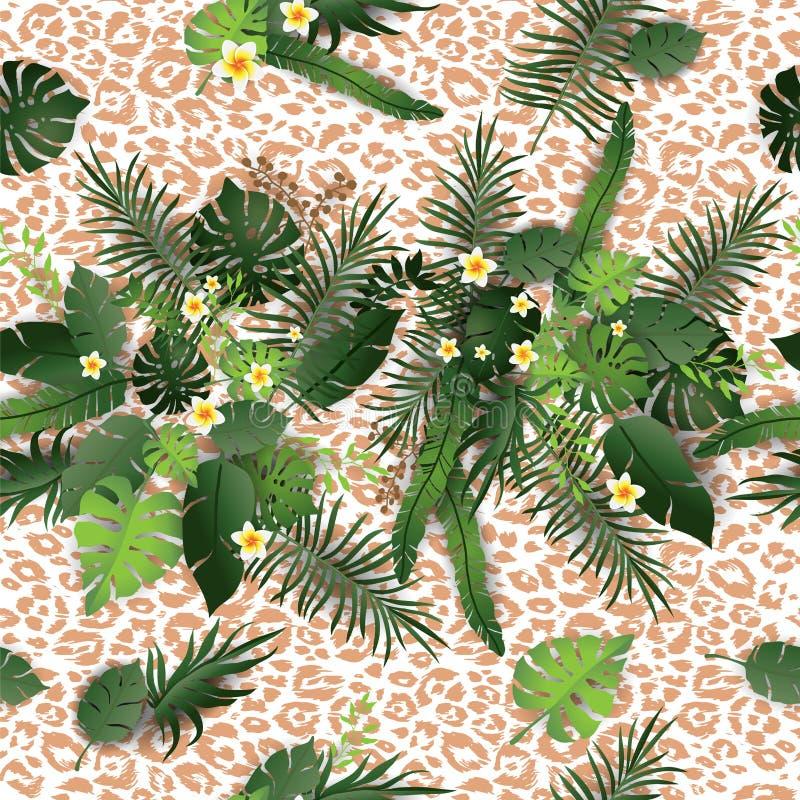 Flores tropicais e pele animal ilustração royalty free