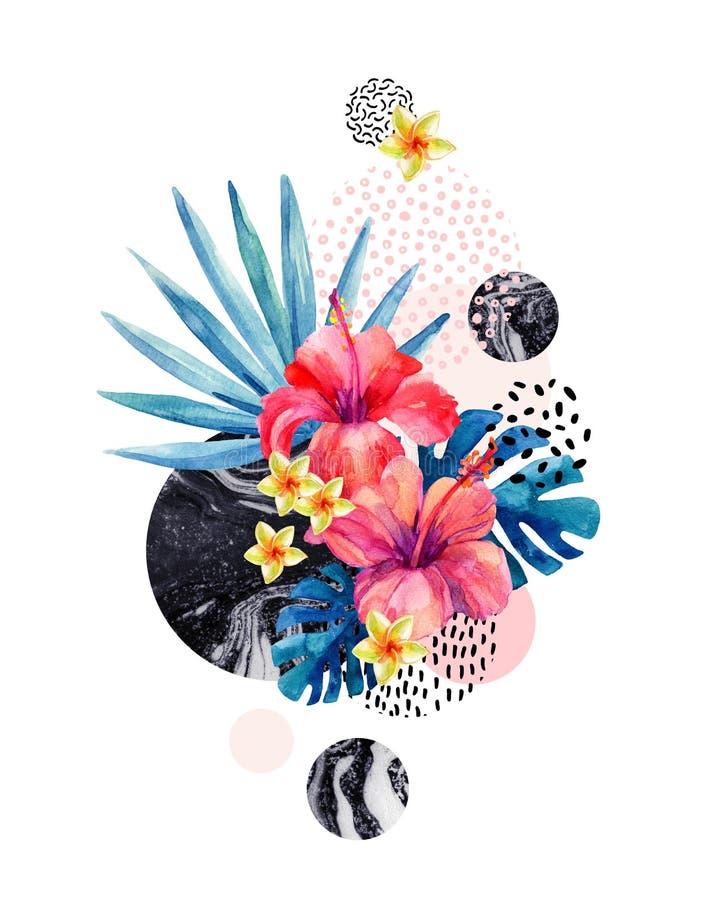 Flores tropicais no fundo geométrico com marmorear, texturas da aquarela da garatuja ilustração do vetor