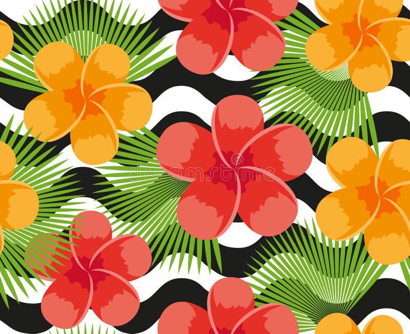 Flores tropicais, plantas, folhas e teste padrão sem emenda da pele animal Fundo floral infinito do verão Repetição do paraíso ilustração royalty free