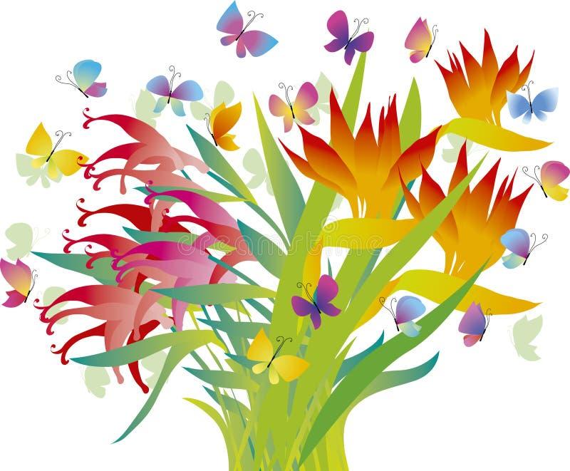 Flores tropicales ilustración del vector