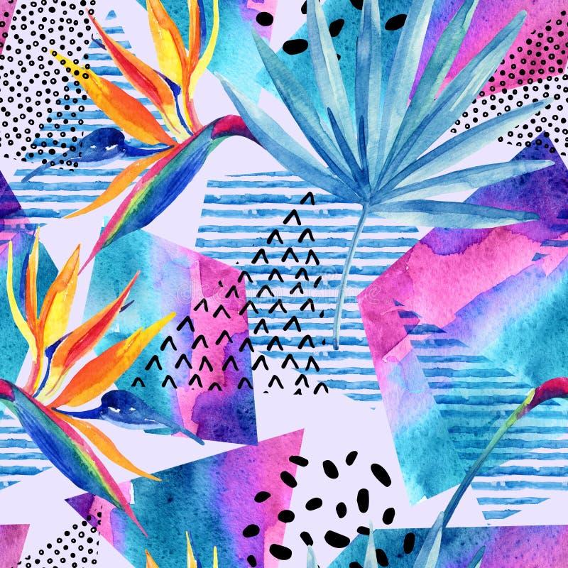 Flores tropicales de la acuarela en fondo geométrico con garabatos ilustración del vector