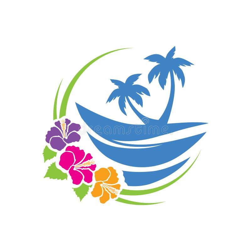 Flores tropicales de la playa y del hibisco stock de ilustración