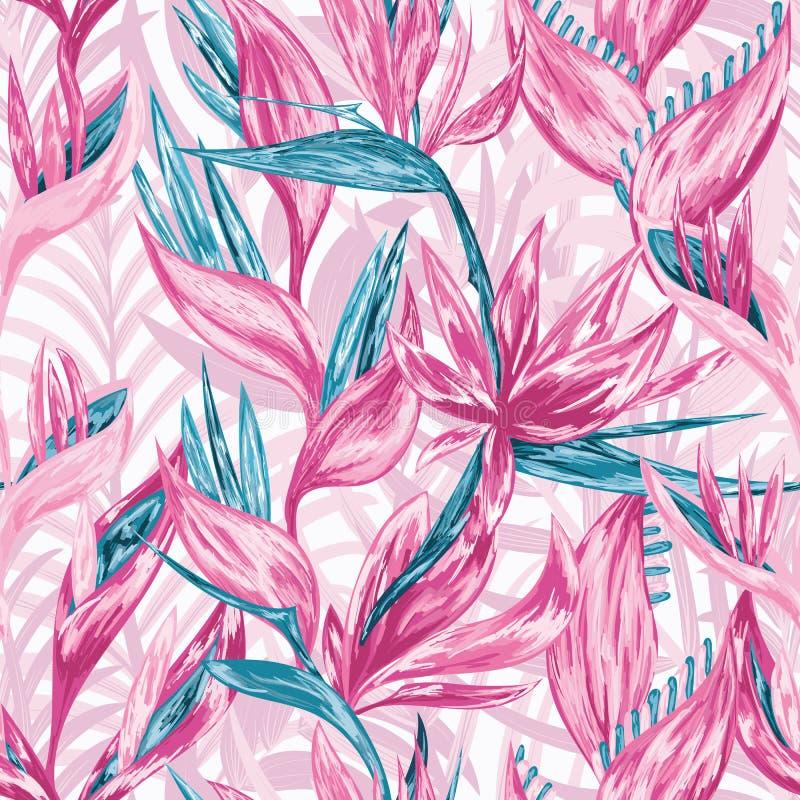 Flores tropicales del drenaje de la mano stock de ilustración