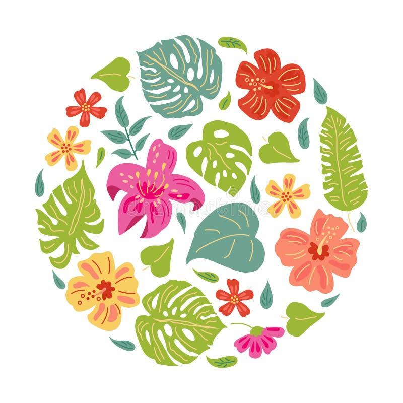 Flores tropicales del estilo exhausto del bosquejo de la mano y hojas exóticas ilustración del vector