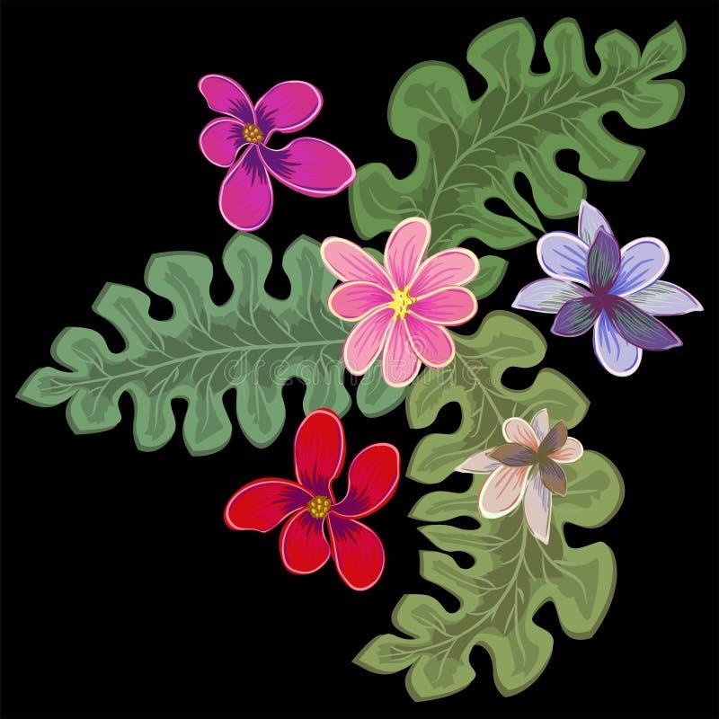 Flores tropicales, hojas de palma, hoja de la selva, flor de la ave del paraíso, hibisco Ejemplos exóticos del vector, elementos  stock de ilustración