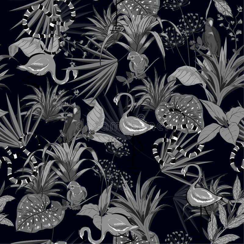 Flores tropicales negras y grises, hojas de palma, plantas de la selva, bir ilustración del vector