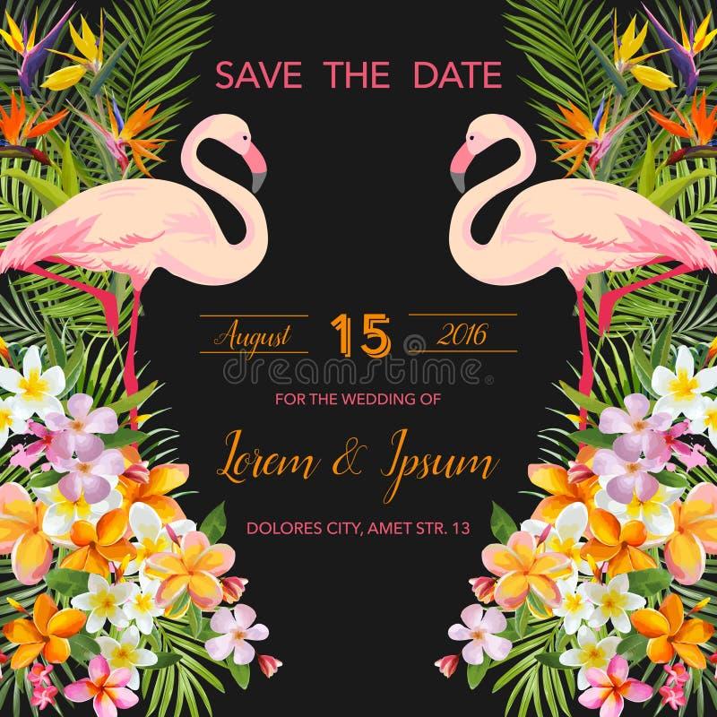Flores tropicales Pájaro acuático del flamenco Excepto la fecha Tarjeta tropical libre illustration