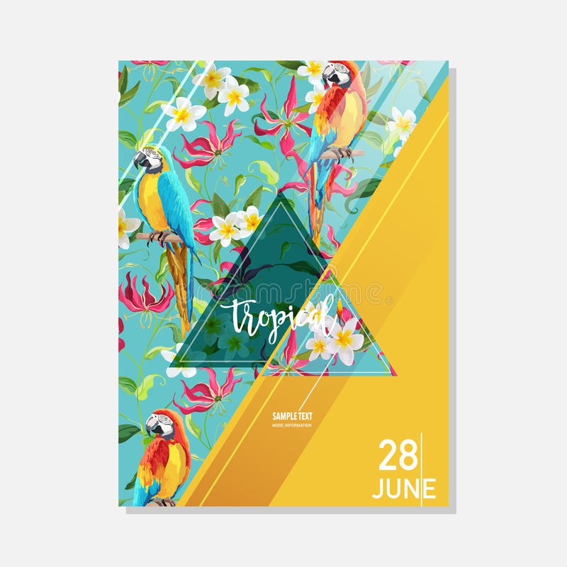 Flores tropicales y fondo gráfico del verano del loro, bandera floral exótica o tarjeta ilustración del vector