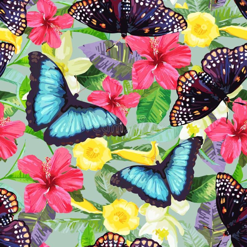 Flores tropicales y mariposas exóticas stock de ilustración