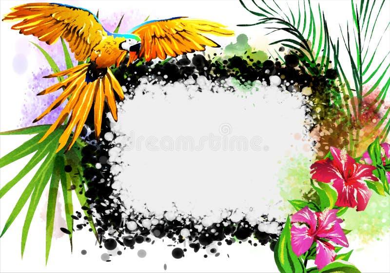 Flores tropicales y un loro con una bandera blanca stock de ilustración