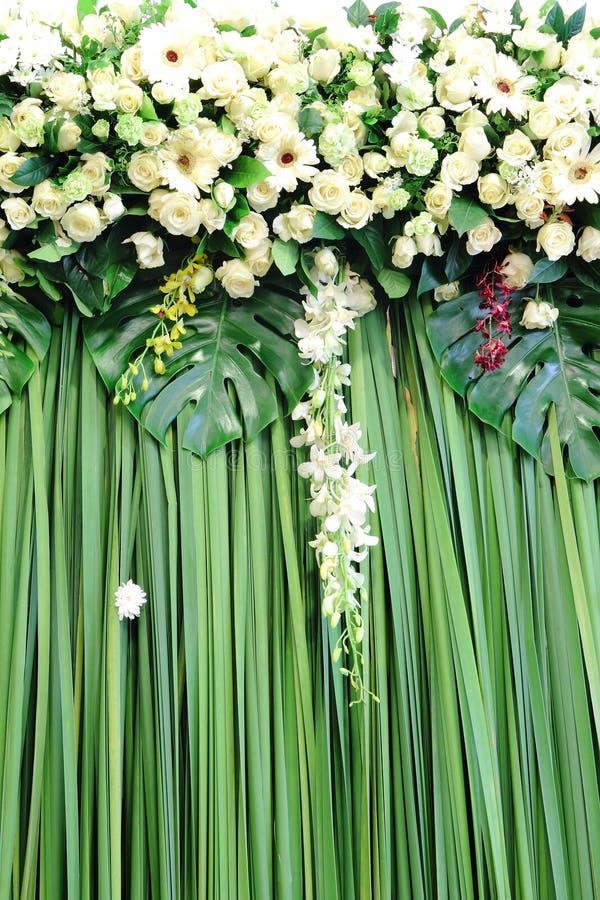 Flores verdes y blancas del contexto fotografía de archivo libre de regalías