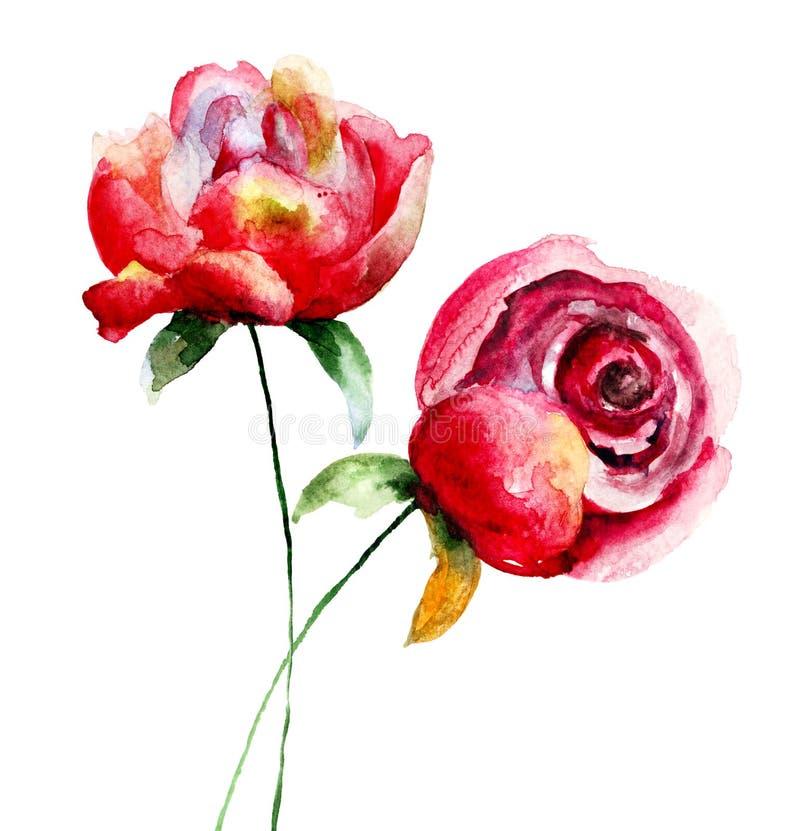 Flores vermelhas bonitas ilustração royalty free
