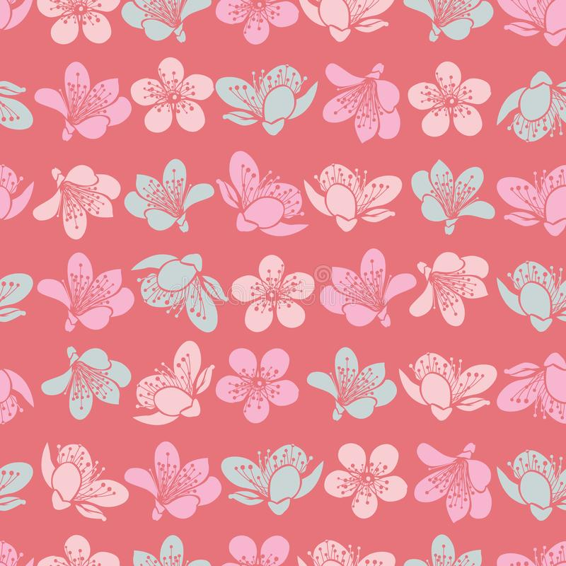 Flores vermelhas claras pasteis de sakura da flor de cerejeira do vetor e fundo sem emenda do teste padrão ilustração do vetor