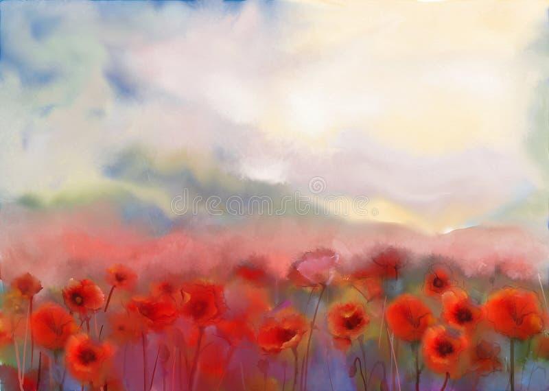 Flores vermelhas da papoila Pintura da aguarela ilustração do vetor