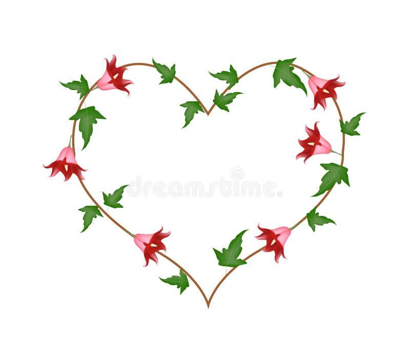 Flores vermelhas de Canarina Canariensis em uma forma do coração ilustração royalty free