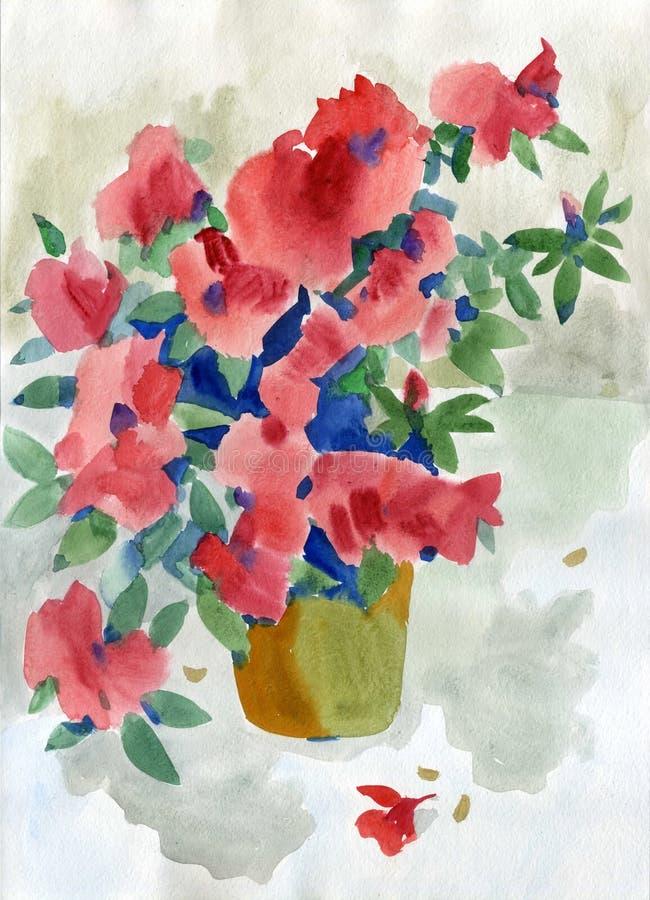 Flores vermelhas de pintura do verão da aquarela foto de stock royalty free