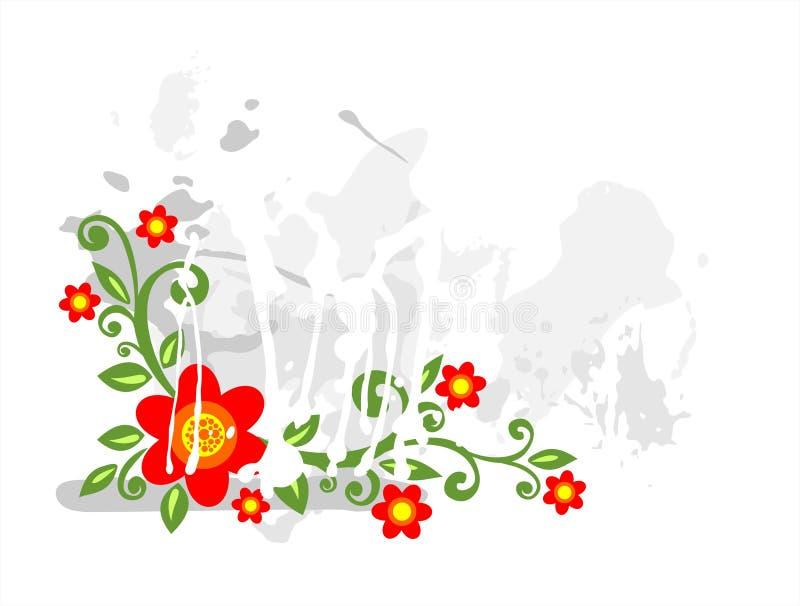 Flores vermelhas do grunge ilustração stock