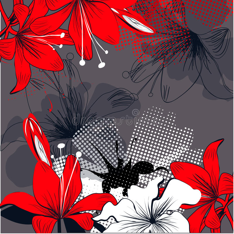 Flores vermelhas do lírio ilustração royalty free