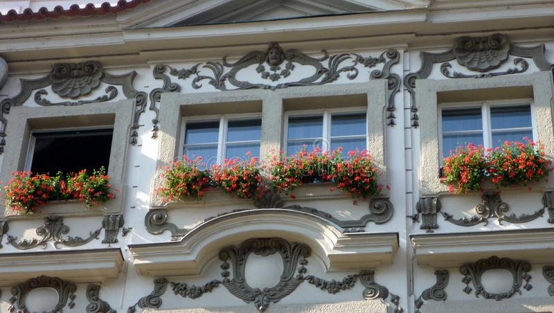 Flores vermelhas em balcões, Praga fotos de stock royalty free
