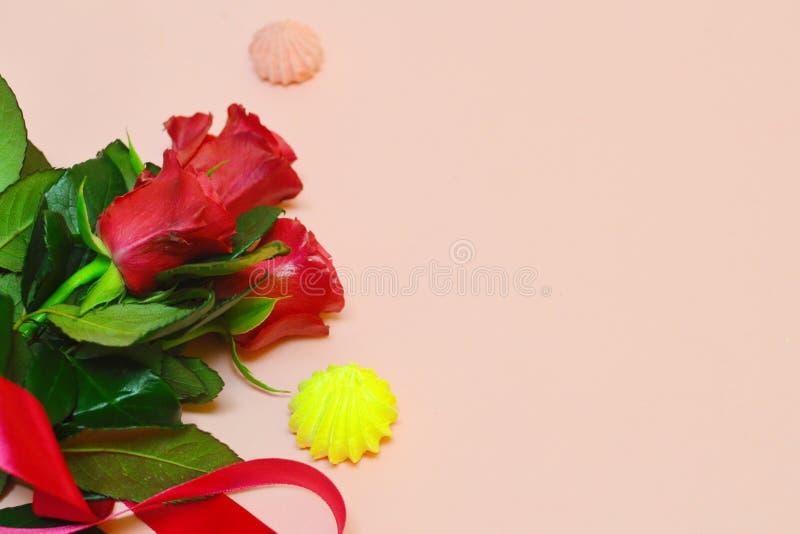 Flores vermelhas em um fundo cor-de-rosa com espaço da cópia imagens de stock
