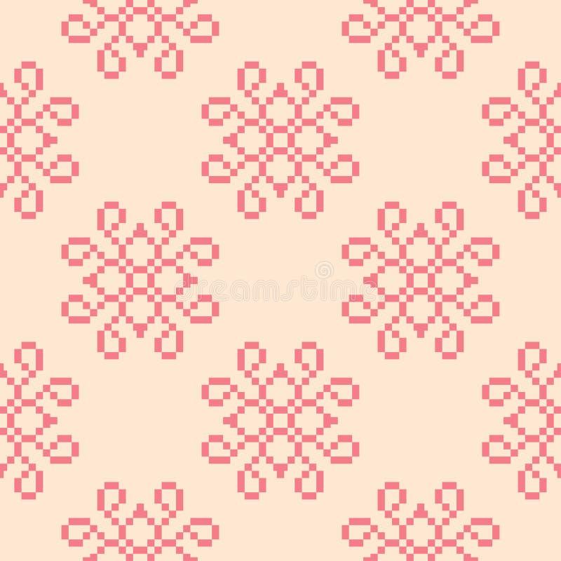 Flores vermelhas no fundo bege Teste padrão sem emenda ilustração stock