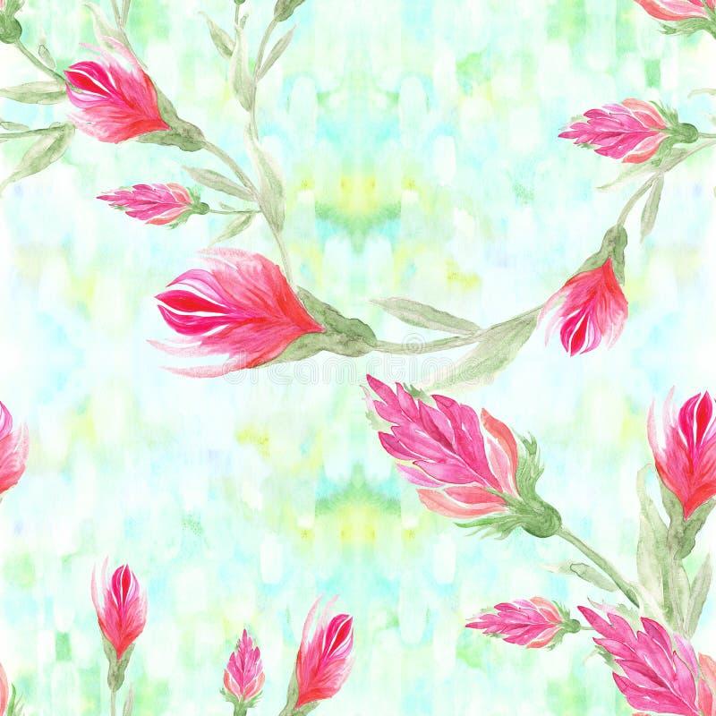 Flores vermelhas no fundo da aquarela Pintura da aguarela wallpaper Teste padrão sem emenda Use materiais impressos, si ilustração do vetor
