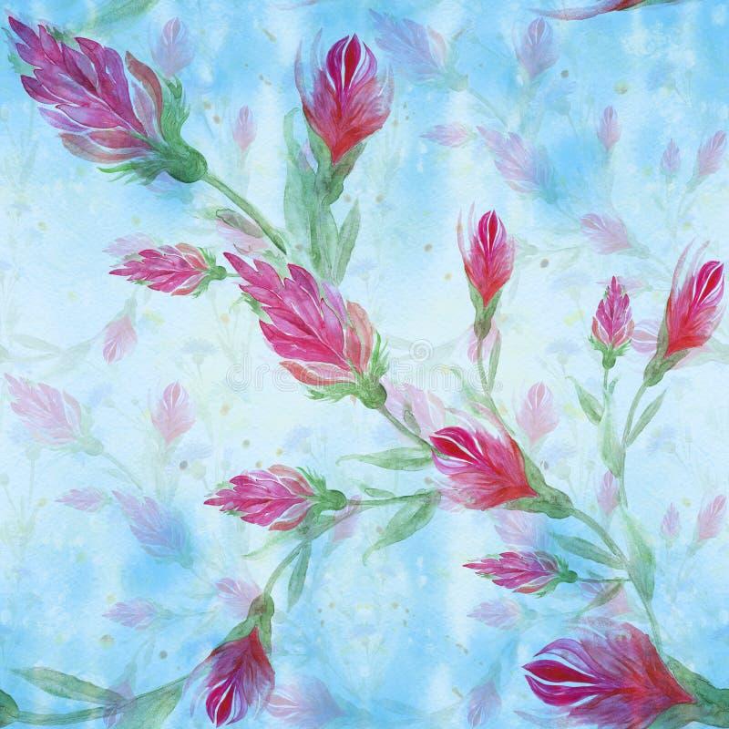 Flores vermelhas no fundo da aquarela Pintura da aguarela wallpaper Teste padrão sem emenda Use materiais impressos, si ilustração stock
