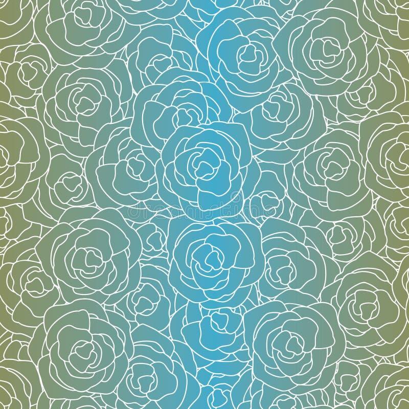 Flores Vetoriais em contornos brancos sobre fundo azul-turquesa Padrão de Repetição Sem Perícia Fundo para ilustração stock