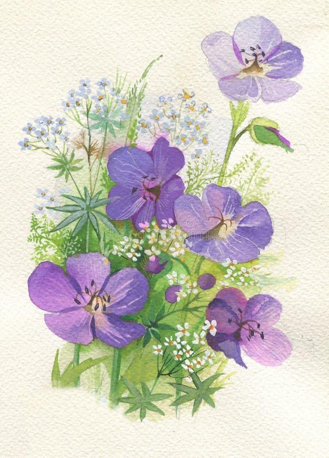 Flores violetas stock de ilustración