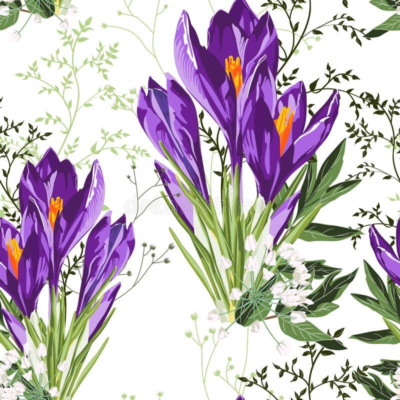 Flores violetas del azafrán con el modelo inconsútil del ramo de las hierbas Ejemplo del estilo de la acuarela ilustración del vector
