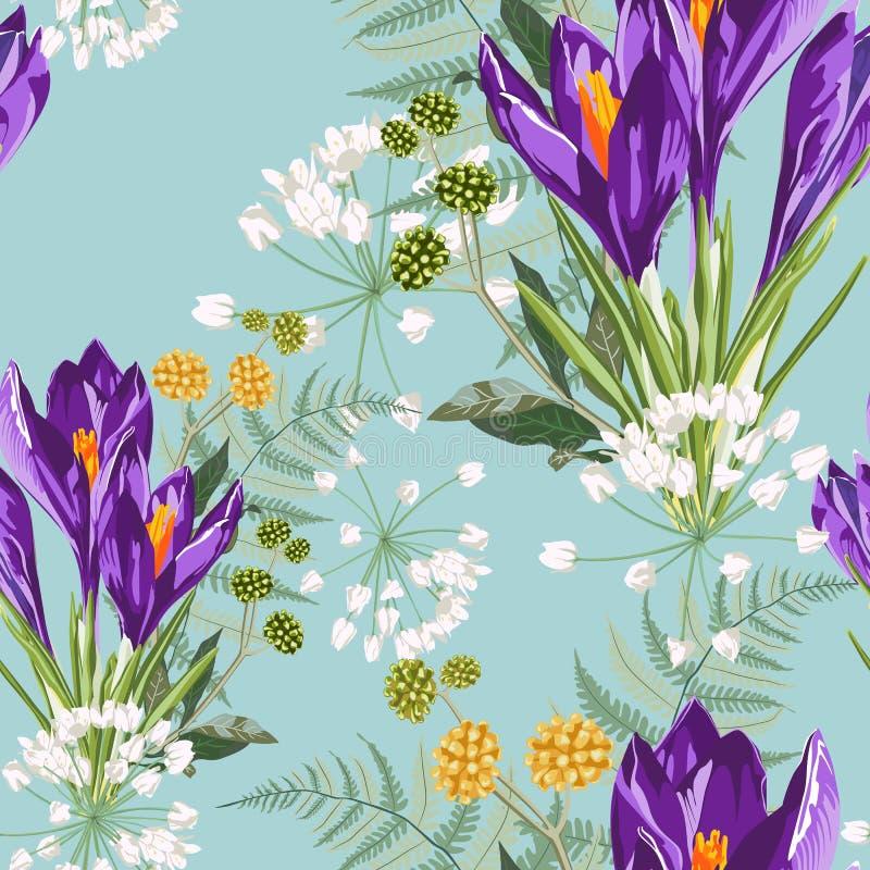 Flores violetas del azafrán con el modelo inconsútil del ramo de las hierbas Ejemplo del estilo de la acuarela Fondo de la menta stock de ilustración