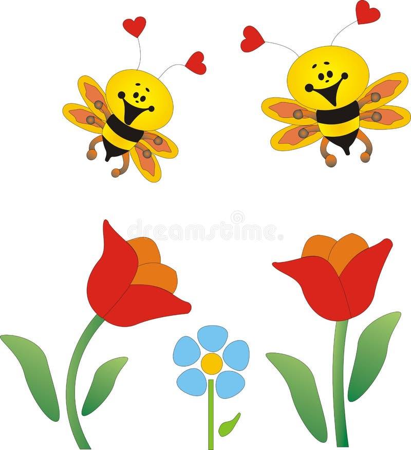 Flores y abejas libre illustration