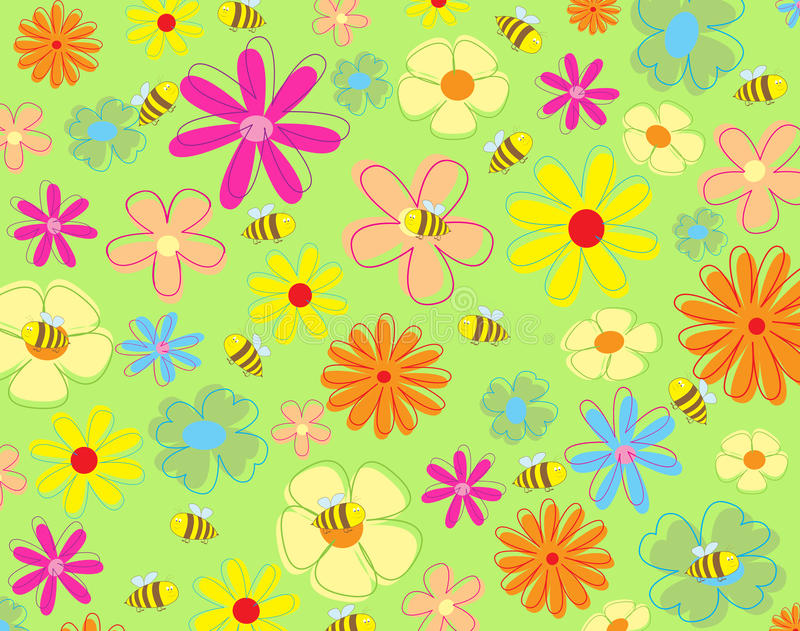 Flores y abejas coloridas libre illustration