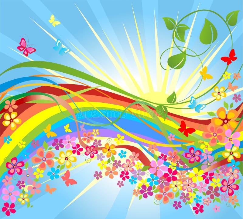 Flores y arco iris stock de ilustración
