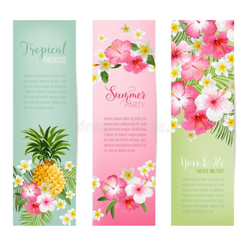 Flores y banderas y etiquetas tropicales de las piñas stock de ilustración