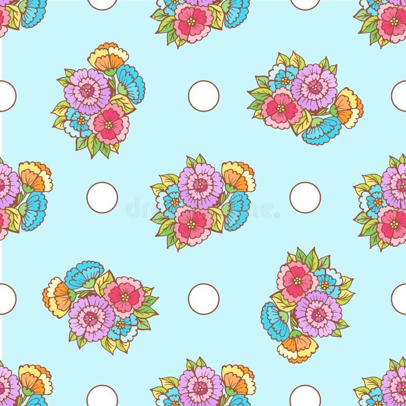 Flores y círculos de la suposición del modelo del garabato en azul stock de ilustración