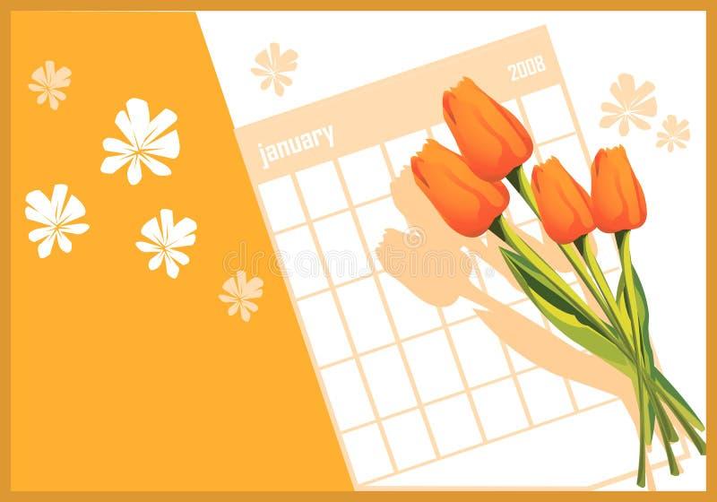 Flores y calendario stock de ilustración