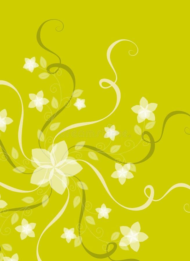 Flores y cintas en verde ilustración del vector