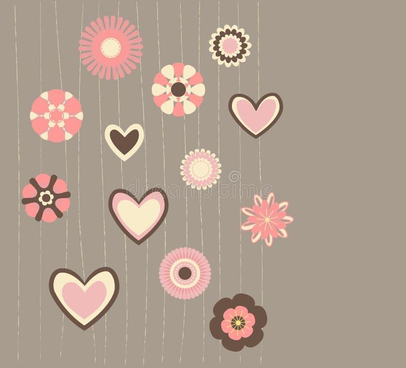 Flores y corazones abstractos stock de ilustración