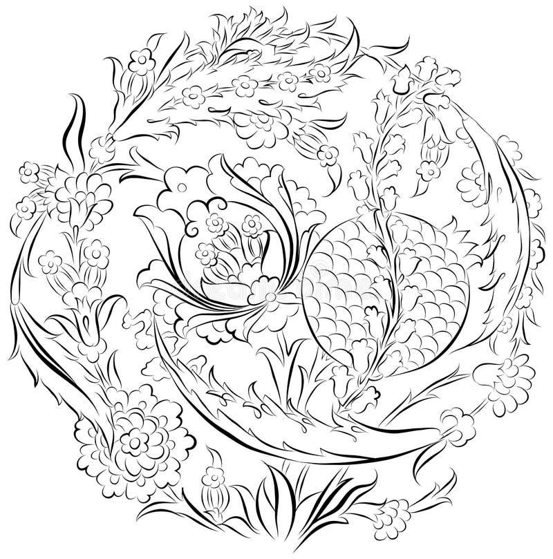 Flores y dibujo ornamental de la granada stock de ilustración