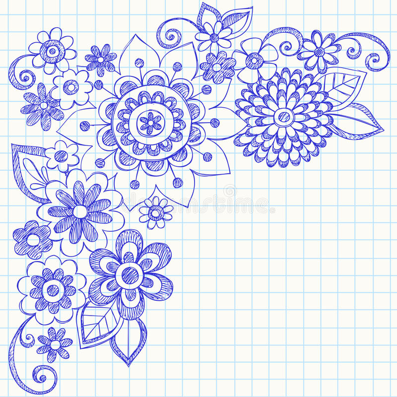 Flores y Doodles incompletos del cuaderno de los remolinos libre illustration